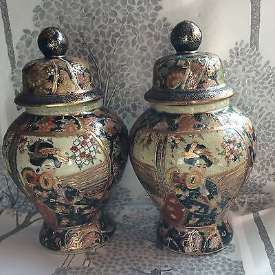 Matching Old Pair Of Japanese Lidded Ginger Jars Click