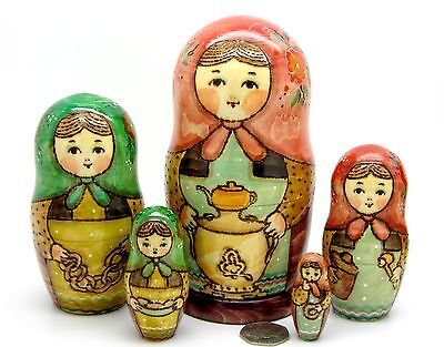 Russian nesting dolls 5 HAND PAINTED Samovar & tea drinking Babushka RYABOVA ART