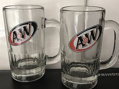 A&W Root Beer Heavy Glass Mug - set of 2