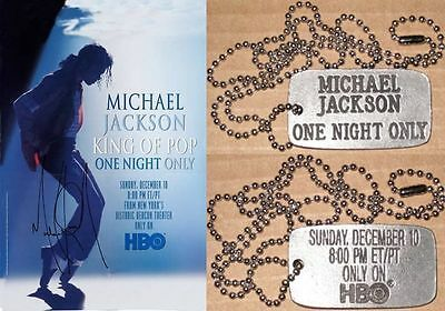 Michael Jackson Pendentif HBO ONE NIGHT ONLY Dog Tag Pendant PROMO Pass 1995