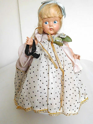 """Rare! Vintage 1950 Vogue 8"""" Painted Eye Blonde Ginny Cinderella in Tagged Gown"""