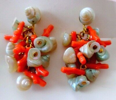 "Vintage Shells with Corals Drop Dangle Earrings 1 3/4"" L Fine Condition"