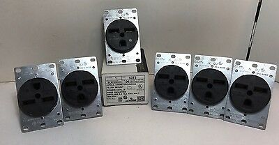 NEW LOT OF 6 LEVITON #5372 POWER OUTLET 2 POLE 3 WIRE GROUNDING 30A//250V flush