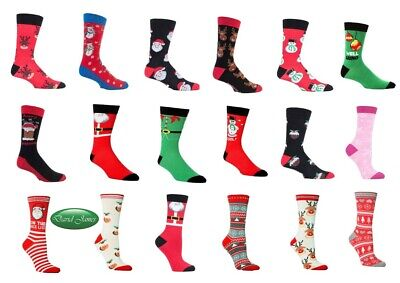 Novelty Men's & Ladies Festive Feet Christmas Holiday Socks Perfect Gift