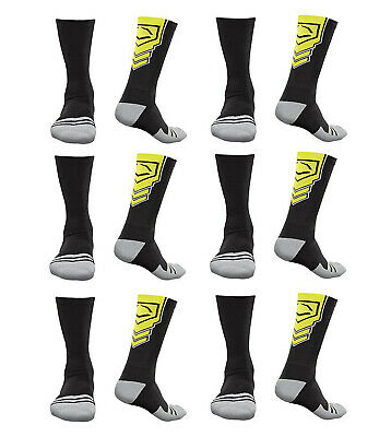 EvoShield Performance Crew Socks Black With Neon Yellow Xlarge (6 pack)