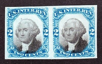 US R104TC 2c Internal Revenue Test Color Pair Proof on Stamp Paper VF SCV $120