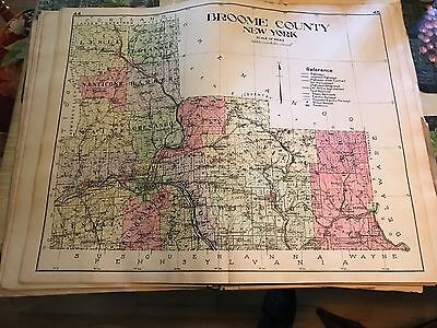 Broome County Map from 1910 New Century Atlas of New York State