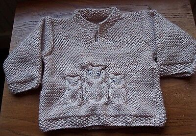 New Hand Knitted Boy's Patterned Long Sleeved Jumper in Aran Wool 12/18 months