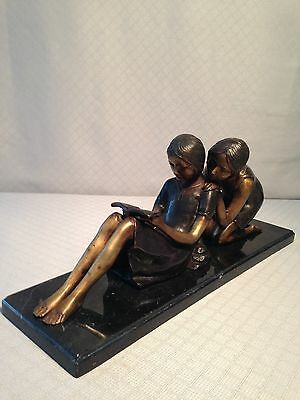 Large Bronze 2 Reading Girls Sculpture Statue by COLLETT  Marble Base