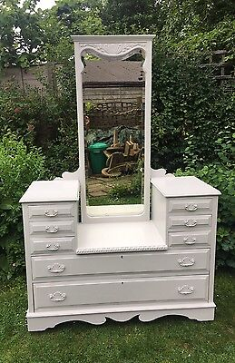 Lovely Late Victorian Walnut Dressing Table With Mirror, Grey