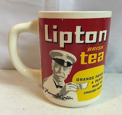 Vintage Old Style Lipton Tea Coffee Cup Mug Must See!! Lipton Tea Captain USA