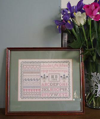 Sampler A Alphabet Cross Stitch Completed Needlepoint Framed X