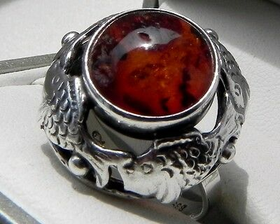 RARE collectors piece! German Fischland 835 stamped amber silver ring size P