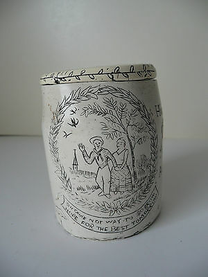 faux reproduction SCRIMSHAW tobacco JAR pot ...nice carving faux whale bone