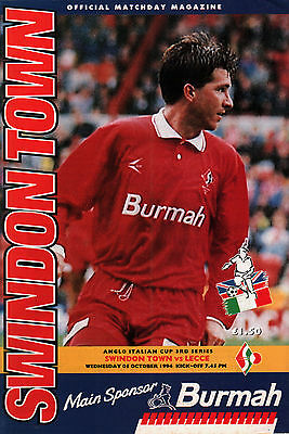 1994/95 Swindon Town v Lecce, Anglo-Italian Cup, PERFECT CONDITION