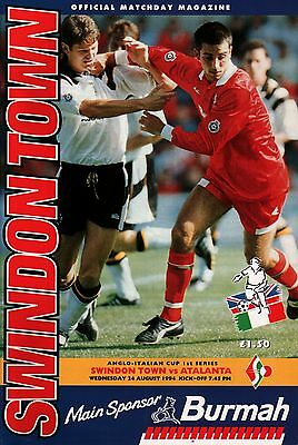 1994/95 Swindon Town v Atalanta, Anglo-Italian Cup, PERFECT CONDITION