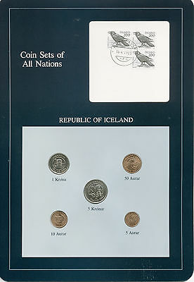 Franklin Mint. Coin Sets of All Nations. Republic of Iceland. 5 Coins.
