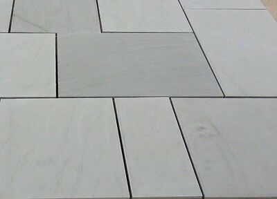 Grey Sawn Smooth Natural Indian Sandstone Paving Slabs Best Patio 16.13 Sqm Pack