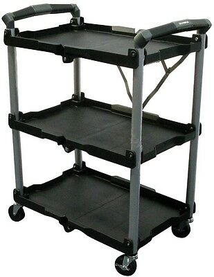 OLYMPIA 3 Shelf Collapsible Folding Rolling Utility Storage Trolley Cart Black