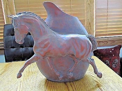 Horse Figure Vase-Copper W/patina Look-Signed R Zimmer-New!