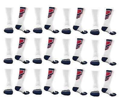 EvoShield Performance Crew Socks (White w/ Navy Blue & Red), X-Large (12 pack)