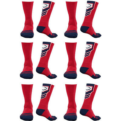 EvoShield Performance Crew Socks Red With Navy & White Small (6 pack)