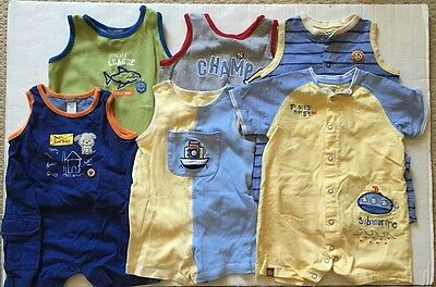Preowned Carter's Baby Boy 18 & 24 Months Summer One Piece Romper Lot Of 6