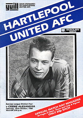 1988/89 Hartlepool United v Crewe Alexandra, Division 4,  PERFECT CONDITION
