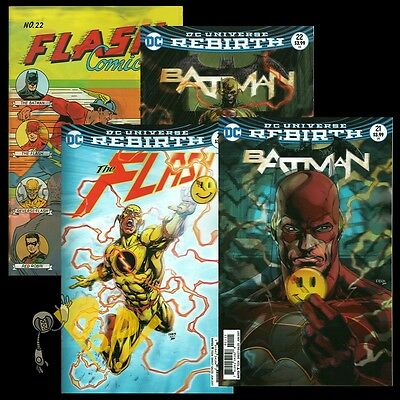 BATMAN & FLASH #21 & #22 The BUTTON Lenticular 3D Variant 4 COVER Set DC Comics!
