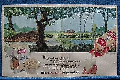 1961 Dean's Dairy Products 2 Pg Ad Print ~ Red Farm Buildings & Crops In Fields