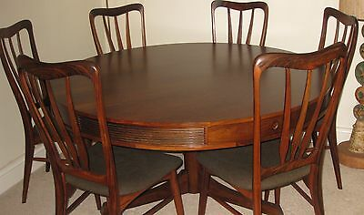 Rosewood Circular Drum Dining Table and 6 Rosewood Chairs