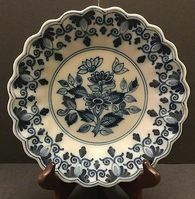Tichelaar Makkum Delft Blue and White Vintage Plate with Stand. Hand Decorated
