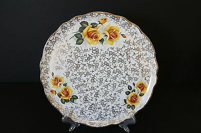 Old Foley James Kent Ltd Cake Plate Gold Flowers Yellow Roses Pretty Vintage