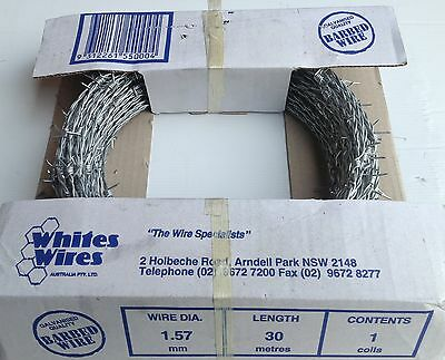 "Barbed Wire - Handy Pack -""1.57Mmx30M"" Paddock Security, Fencing Wire - 5 Rolls"