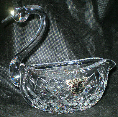 Unused Vintage Hand Cut Bohemia Lead Crystal Made In Czechoslovakia Swan Basket
