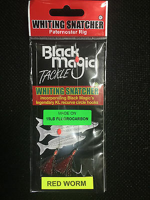 Black Magic Whiting Snatcher RED WORM Paternoster Rig Single! FREE POSTAGE