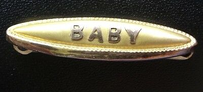 antique Edwardian 9ct GOLD baby name brooch c pin -D235