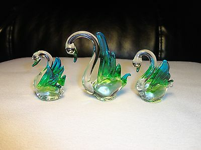 Set of 3 Swans Blue Green Figurine of Blown Glass Crystal