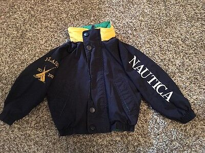 NAUTICA Vintage 90s Hooded Spell Out Windbreaker Sailing Jacket Toddler Size S/4