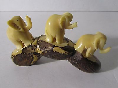 Elephant Tagua Nut Figurine White Sculpture Vegetable Ivory Carving Collectib...