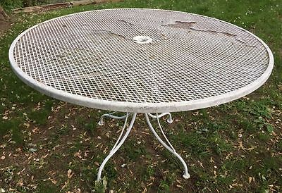 Large Vintage WOODARD Table. Mid Century Modern Wrought Iron Outdoor Garden