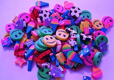 """Mini Erasers Assorment  Lot 0F 144 Carnivals Party Toys 1/2""""  Assorted Colors"""