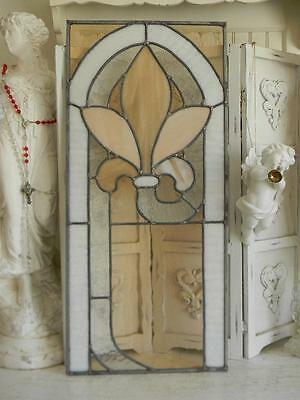 "Antique 25""x11"" Stained Leaded Glass Window Panel~Fleur De Lis~Victorian Salvage"