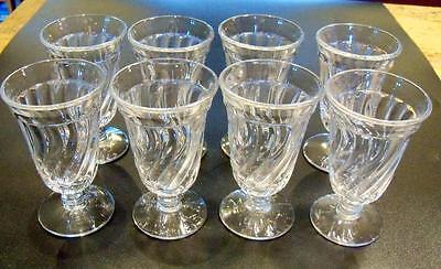 8 Fostoria Elegant Glass Colony Swirl Footed Juice Tumblers Goblets Stems 4 5/8