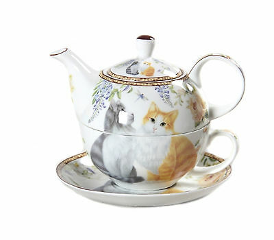 Cat Fine China Tea for One Pot & Cup Long Haired Cats Boxed