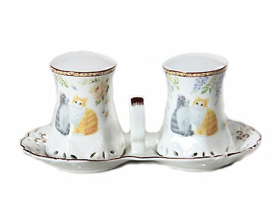 Cat Salt & Pepper Shakers Long Haired Cats Boxed