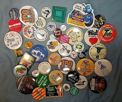 Large Huge Lot of Pin Pinback Buttons 80s Advertising Teddy Bears Wisconsin