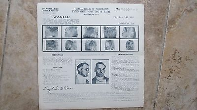 Vintage 1938 FBI WANTED POSTER, Impersonation, Lionsdale, R.I., Police, Gangster