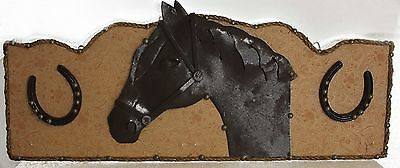 Vintage Metal Art Horse Horseshoes Plaque Sign Large Hand Tooled Leather RARE
