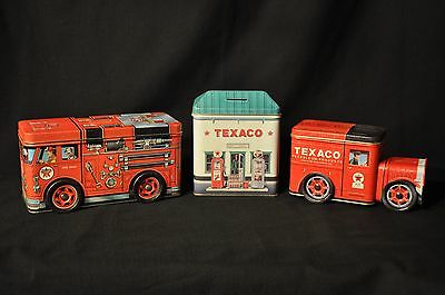Lot of 3 Texaco Coin Bank Tins - Ruby's - Fire Engine - Petroleum Truck